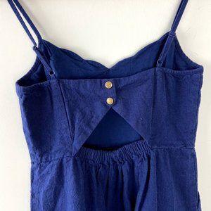 MARKET & SPRUCE linen navy blue sun dress m